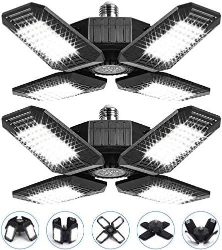 2 Pack 100W LED Garage Lights, 10000LM Garage Lights Ceiling LED, Best for Garage, Basement, E26/E27 Base, CRI 85, 6500K Deformable LED Garage Lighting Fixture with Adjustable Multi-Position Panels