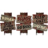 "Set of 3- Halloween Cemetery Sidewalk Signs- ""Beware Go Back"", ""Keep Out! Condemned"", Danger! Enter At Your Own..."