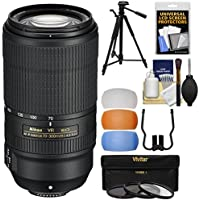 Nikon 70-300mm f/4.5-5.6E VR AF-P ED Zoom-Nikkor Lens with 3 UV/CPL/ND8 Filters + 58 Tripod + Kit