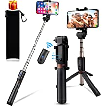 kungfuren Selfie Stick Upgrated Aluminum iPhone Tripod with Detachable Bluetooth Remote Camera Shutter for iPhone 6s 6 Plus Samsung Galaxy Nexus Moto Android iOS Smartphones Tripod for iPhone
