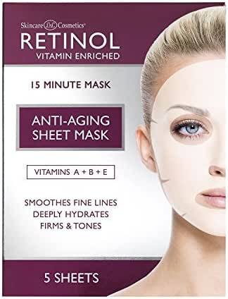 Retinol Anti-Aging Sheet Mask – Hydrating Vitamin-Enriched 15 Minute Treatment With Collagen Firms Face – Exfoliates for Improvement In Tone & Minimizes Fine Lines & Wrinkles For Noticeable Difference