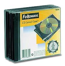 Fellowes 98305 funda para discos ópticos Caja transparente para CD 1 discos Negro, Transparente - Fundas para discos ópticos (Caja transparente para CD, 1 discos, Negro, Transparente, De plástico, 120 mm, 124 mm)