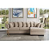 Modern Large Fabric Sectional Sofa, L-Shape Couch with Extra Wide Chaise Lounge (Beige)