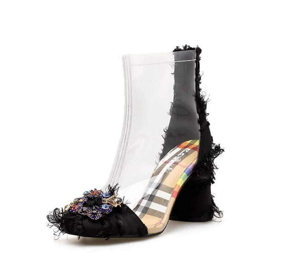 Frauen Transparente Knöchel Stiefelie Kleid Stiefel 8Cm Chunkly Heel Satin Rhinestone Casual Court schuhe EU Größe 34-40