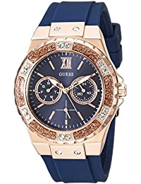 Womens Quartz Stainless Steel and Silicone Casual Watch, Color:Color: Blue/Rose