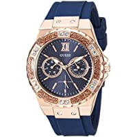 GUESS Women's Quartz Stainless Steel and Silicone Casual Watch, Color:Color: Blue/Rose Gold-Toned (Model: U1053L1)