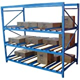 Vestil FLOW-4-4 Carton Flow Rack with Gravity Fed Rollers, 4 Flow Levels, 84