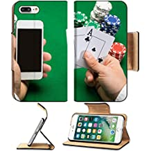 MSD Premium Apple iPhone 7 Plus Flip Pu Leather Wallet Case casino online gambling technology and people concept close up of poker player with IMAGE 34814817