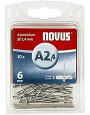 Novus blindklinknagels Ø2,4 mm aluminium, 6 mm lengte, 30 klinknagels, 1,5-3,5 mm klemlengte, voor bevestiging van non-ferro metaal