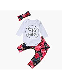 CYNDIE Lovely Fashion Baby Girl Long Sleeve Floral Pants Bowknot Headband Set Peony Pattern Clothing 3 Pcs Outfits Clothes