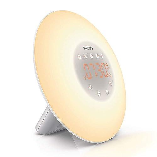 Philips Wake-Up Light Alarm Clock with Sunrise Simulation, 2 Natural Sounds and Radio - HF3505/01