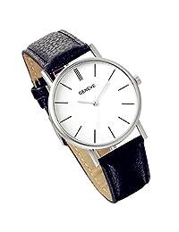 Lancardo Simple Fashion Mens Quartz Watch With Leather Band (Black, 2PCS)