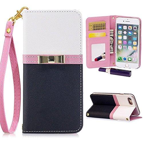 Kudex iPhone 7 Plus Wallet Case,iPhone 8 Plus Case for Women, Slim Leather Magnetic Detachable Strap Glitter Floral Design Mirror&Card Slots Folio Stand Protective Case (Black, iPhone 7 Plus/ 8 Plus)