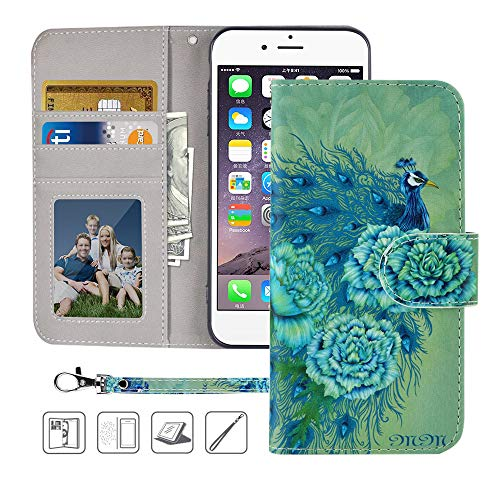 iPhone 8 Wallet Case, iPhone 7 Wallet Case, MagicSky Premium PU Leather Flip Folio Case Cover with Wrist Strap, Card Holder, Cash Pocket, Kickstand for Apple iPhone 8 / iPhone 7,Green Peacock