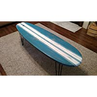 Surfboard Coffee Table Wooden Weathered Surfboard Table Surf Furniture 5 Ft.