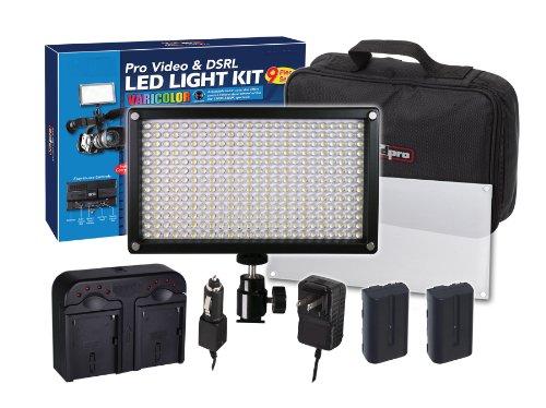 312 LED Light Pro Video and DSRL Varicolor Kit For Panasonic Lumix DMC-G1 DMC-G2, DMC-G3, DMC-G10, DMC-G6K, DMC-GF1, DMC-GF2, DMC-GF3K, DMC-GF5K, DMC-GF6K, DMC-GH1, DMC-GH2, DMC-GH3K, DMC-GH4, DMC-GM1K, DMC-GM5K, DMC-GX1, DMC-GX7 Digital SLR Camera