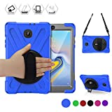 BRAECN Childproof Case for Samsung Galaxy Tab A 8.0 2018 SM-T387, Full-body Shockproof Rugged Case with Shoulder Strap,Built-In Stand and Rotating Handle Grip for Galaxy Tab A 8 Inch T387 Tablet(BLUE)