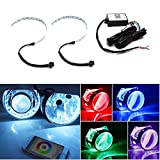 """iJDMTOY WIFI Wireless Remote Control 15-SMD RGB LED Demon Eye Halo Ring Kit For Headlight Projectors or 2.5"""" 2.8"""" 3.0"""" Retrofit Projector Lens"""