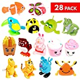 28 Pcs Wind Up Toys for Kids - 14 Designs - Perfect for Birthday Loot Goodies Bag, Party Favors, Pinata Stuffers, Classroom Rewards or Prizes and School Party Supplies