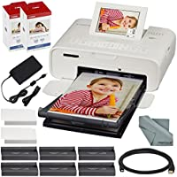 Canon SELPHY CP1300 Compact Photo Printer (White) with WiFi and Accessory Bundle w/ 2X Canon Color Ink and Paper Set