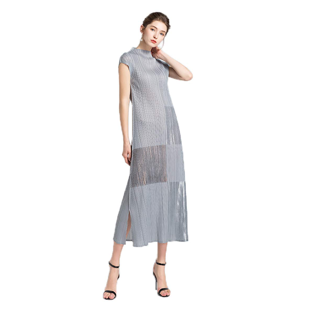 Main color One Size Summer New Women's Dress, European and American Popular Pleated Dress, ShortSleeved Long Dress