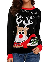 Meaneor Women's Ugly Christmas Sweater Long Sleeve Crewneck Reindeer Knitted Pullover