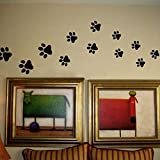 Paw Print Wall Stickers - 20 Walking Paw Prints Wall Decal Home Art Decor Dog Cat Food Dish Room House Bowl Sticker