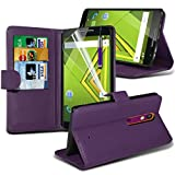 ONX3® ( Purple ) Motorola Moto X Play Case Custom Made BookStyle PU Leather Wallet Flip With Credit / Debit Card Slot Case Skin Cover With LCD Screen Protector Guard, Polishing Cloth & Mini Retractable Stylus Pen