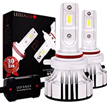9012 LED Headlight Bulbs Conversion Kit Car HID Halogen Replacement Fog Light High Low Beam Diamond Bright Cool White 400% More Lux Adjustable Beam Angle Dual Heatsink LED EAGLE 6500K 12000LM, 2 Pack