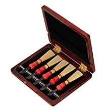 WEONE Professional Durable Solid Wooden Bassoon Reed Case Hold 5 pcs Reeds Dark Red