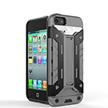 IPhone5s SE Case,2 In 1 New Armour Tough Style Hybrid Dual Layer Armor Defender PC Hard Cases With Stand [Shockproof Case] For IPhone 5s SE ( Color : Gray-Iphone5s Se )