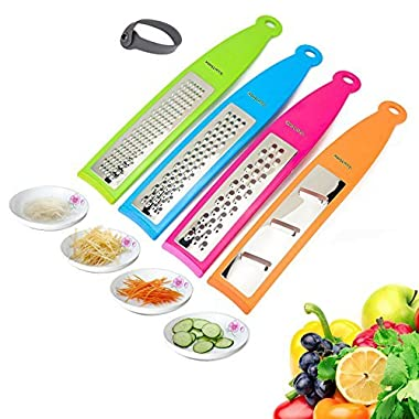 Grater Zester, 4 Different Blades Hand Graters / Zester for Parmesan Cheese, Ginger, Vegetables by WearHome