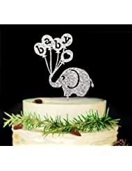 Baby Elephant Cake Topper-Baby Shower Cake Topper,Gender Reveal Party Decorations (Silver)