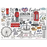 Large Wall Mural Sticker [ Doodle,I Love London Double Decker Bus Telephone Booth Cab Crown of United Kingdom Big Ben Decorative,Multicolor ] Self-adhesive Vinyl Wallpaper / Removable Modern Decoratin
