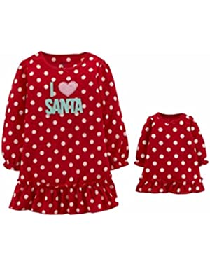 Carters Infant Toddler Girl Red I Love Santa Nightgown Set with Doll Nightie