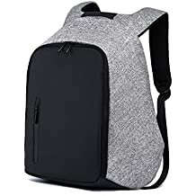 Anti Theft Travel Laptop Backpack, LYCSIX66 Business Bag with USB Charging Port College School Bookbag, Water Resistant Computer Backpack for Men & Women, Fits 15.6 Inch Laptop and Notebook (Gray)