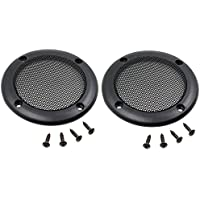 Ninth-City 2PCS 3.5 Black Speaker Decorative Circle SubWoofer Grill Cover Guard Protector Mesh