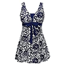 Ecupper Womens One Piece Shaping Floral Swimdress Plus Size Bathing Suit