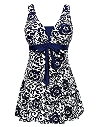 Ecupper Womens One Piece Swimdress Shaping Body Swimsuit Floral Plus Size Bathing Suit