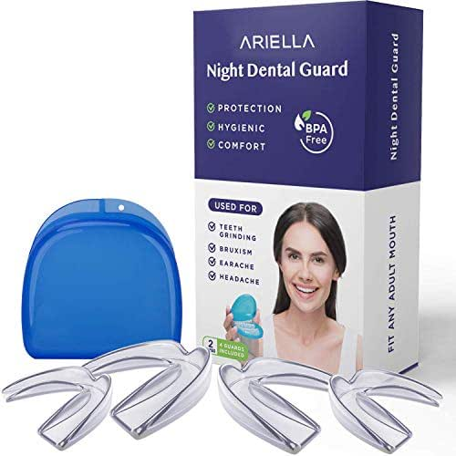 Mouth guard for grinding teeth BPA Latex Free Moldable Custom Dental Night Guards for teeth grinding, FDA Approved, Upper & Lower Teeth, 3-in-1 Multi-Purpose Teeth Whitening Tray Mouth Guard
