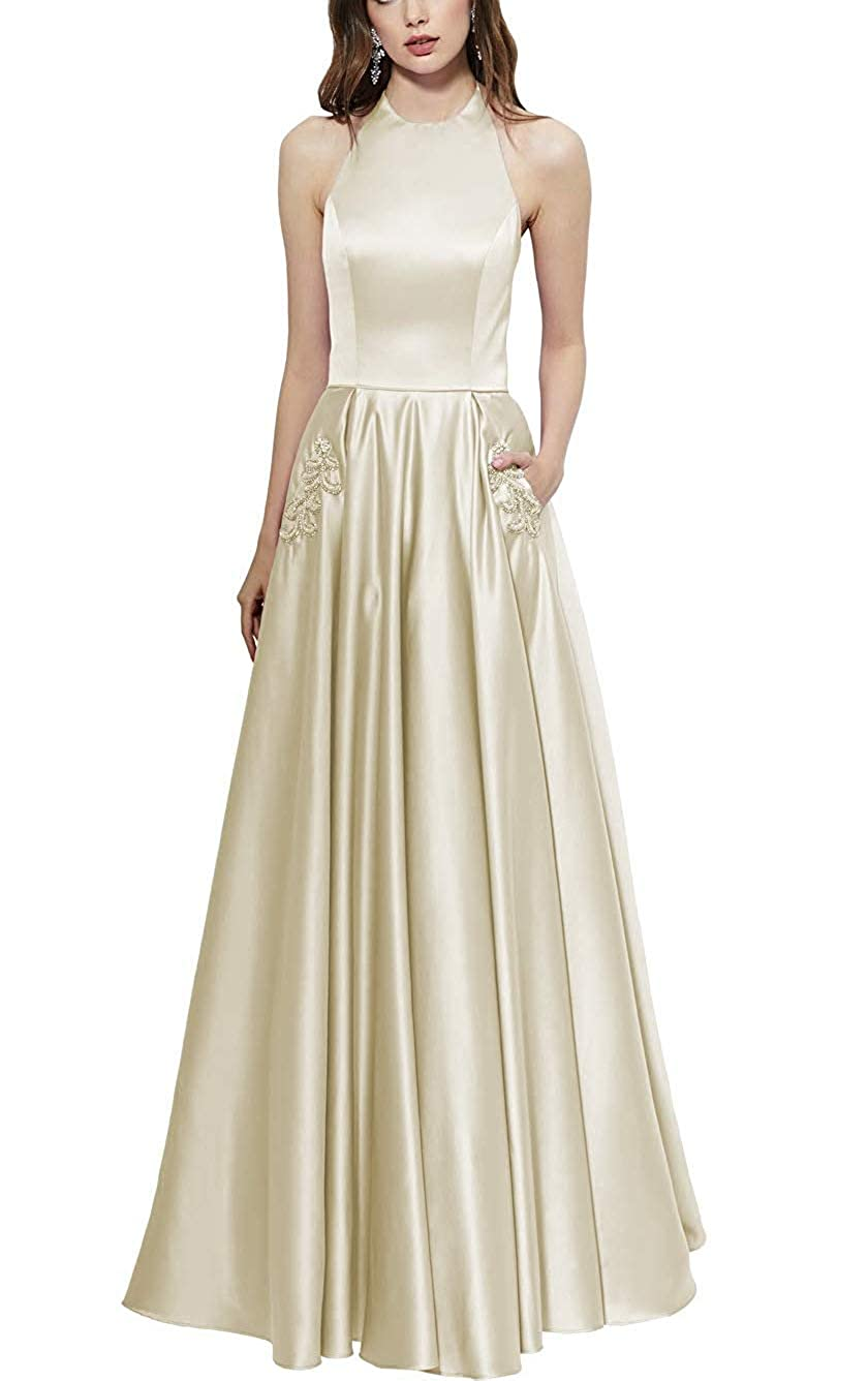 Champagne Halter Prom Gown Long Backless Satin Aline Formal Evening Dresses with Beaded Pockets