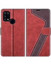 MOBESV fodral kompatibel med Samsung Galaxy M31, magnetiskt mobilfodral flip-fodral till Samsung Galaxy M31 telefonfodral, Röd