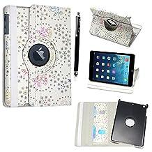 Kamal Star® Apple iPad Mini 4 PU Leather 360-Degree Rotating Case Cover + Stylus (Rose White Diamond)