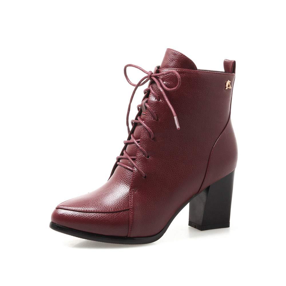 SHINIK Damenmode Martin Stiefel 2018 Winter Einfache High-Heel Spitzen Stiefeletten Größe 33-43 Kurze Stiefel
