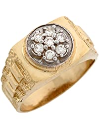 10k Two Toned Real Gold White CZ Cluster Rolex Inspired Band Ring