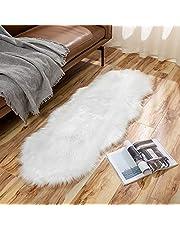 MIULEE Faux Fur Area Tapijten Schapenvacht Tapijten Faux Pluizige Mat Fleece Stoel Cover Seat Pad Zachte Shaggy Area Mat voor Slaapkamer Sofa Vloer 60 x 160 cm Wit