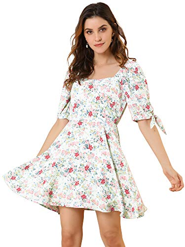 Allegra K Women's Floral Printed Sweetheart Neck Puff Sleeve Fit and Flare A-Line Mini Dress X-Large White