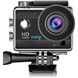 Indigi ActionCAM-BK08 HD Recording Accessories Included, WiFi Enabled, 4K Sports & Action Video Camera, 1.5, Black