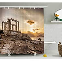 Pillar Decor Shower Curtain by Ambesonne, Greek Temple Poseidon at Sunset Sea and the Cloudy Sky Digital Image, Fabric Bathroom Decor Set with Hooks, 70 Inches, Taupe and Beige