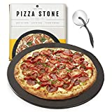 Heritage, 15 inch Black Ceramic Pizza Stone - Professional Grade Baking Stones for Oven, Grill, BBQ- Non Stain- with Free Pizza Cutter
